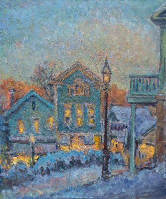 CAT# 1743 Chester Center - Winter Dusk  oil 36 x 30 inches Leif Nilsson winter 1997 ©