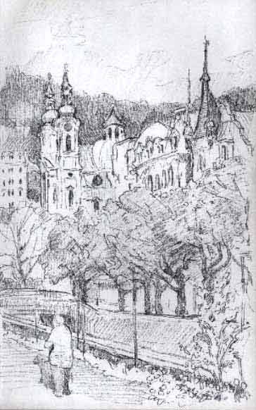 An Original Graphite Drawing Of Karlovy Vary In The Czech Republic