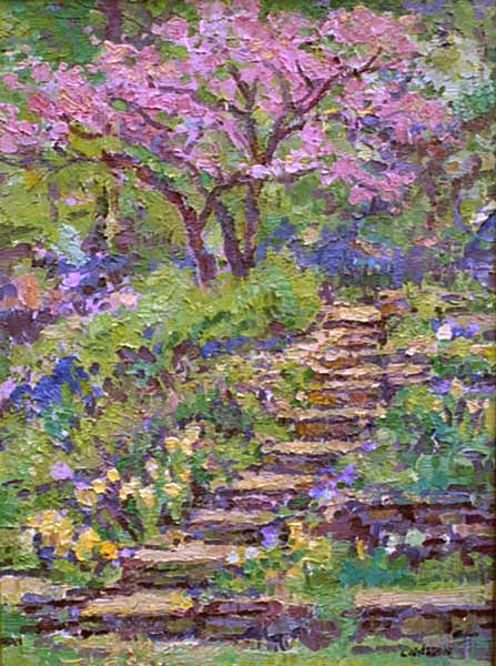 An Original Oil Painting Of The Stone Steps In The Garden With Dogwood Tree  By Leif Nilsson.