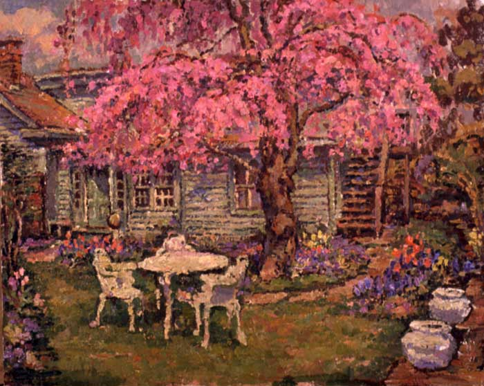 An Original Oil Painting Of A Japanese Flowering Cherry Tree In The Artists Garden By Leif Nilsson