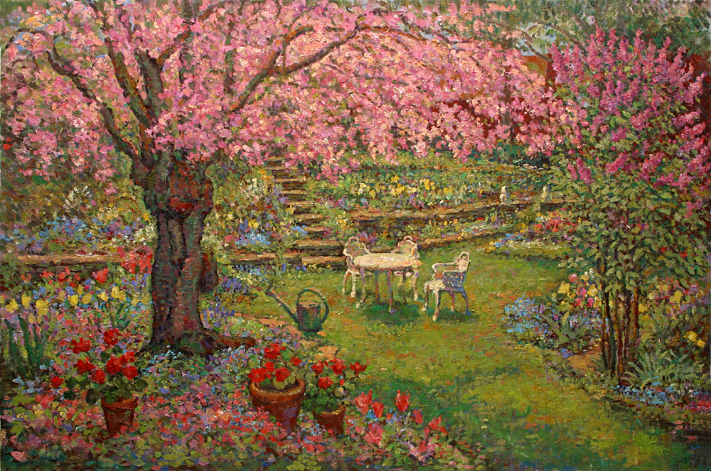 Backyard Garden With Flowering Cherry Tree Oil 36 X 54 Inches Leif Nilsson Summer 2003 C