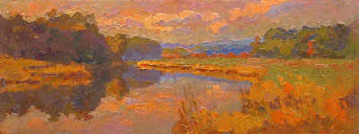 CAT# 2695  Chester Cove - Autumn Morning  oil 9 x 24 inches Leif Nilsson autumn 2004 ©