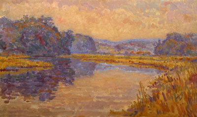 CAT# 2703  Chester Cove - Autumn morning  oil 24 x 36 inches Leif Nilsson autumn 2004 ©