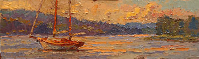 CAT# 2740  Deep River Sail Boat  oil 6 x 20 inches Leif Nilsson summer 2005 ©
