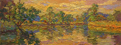 CAT# 2759  Selden's Creek - end of day  oil 9 x 24 inches Leif Nilsson autumn 2005 ©