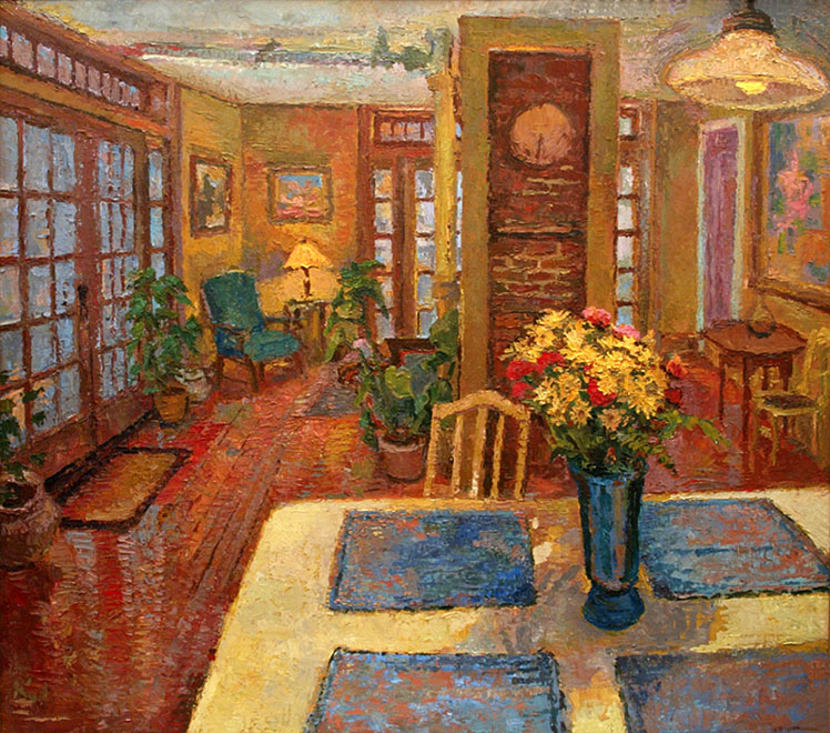 An original oil painting of the yellow kitchen interior for Paintings for kitchen area