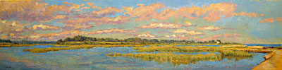 CAT# 2823  Griswold Point - Old Lyme  oil 24 x 96  Leif Nilsson summer 2006 ©