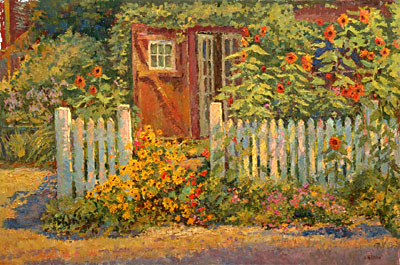 A collection of Oil Paintings of the Artists Studio Garden by Leif
