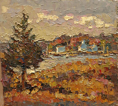 CAT# 2836  Essex from Nott's Island  oil 8 x 9 inches Leif Nilsson autumn 2006 ©