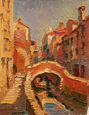 CAT# 2850  Tete Bridge Canal - Venice oil 12 x 9 inches Leif Nilsson spring 2007©