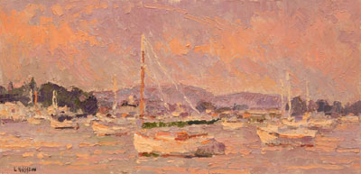 CAT# 2875 Essex Cat Boat from South Cove - foggy oil 12 x 24 Leif Nilsson summer 2007©