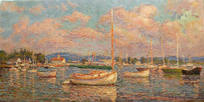 CAT# 2883 Essex Cat Boat from South Cove - morning oil 24 x 48 Leif Nilsson summer 2007©