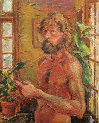 Self Portrait - half nude oil 30 x 24