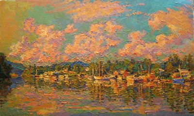 CAT# 3012  Hamburg Cove - summer afternoon  oil	24 x 40