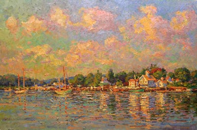 CAT# 3015  Essex from the Mooring - summer morning  oil	24 x 36