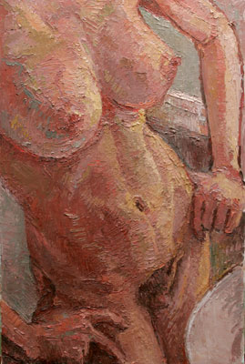 CAT# 3034 Nude - (bathing girl) oil 30 x 20 Leif Nilsson winter 2010 ©