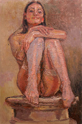 CAT# 3035 Nude - (pedestal girl) oil 30 x 20 Leif Nilsson winter 2010 ©