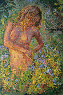 CAT# 3036 Nude - (garden girl) oil 36 x 24 Leif Nilsson winter 2010 ©