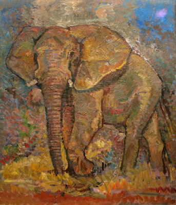 CAT# 3038 Elephant Standing oil 48 x 40 Leif Nilsson winter 2010 ©