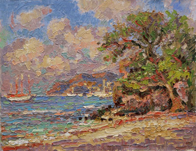 Under the Almond Tree with Sail Boats, gray day - Lower Bay Beach, Bequia