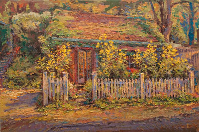 CAT# 3095  Studio with Sunflowers and Asters  oil	24 x 36  Leif Nilsson autumn 2010	©