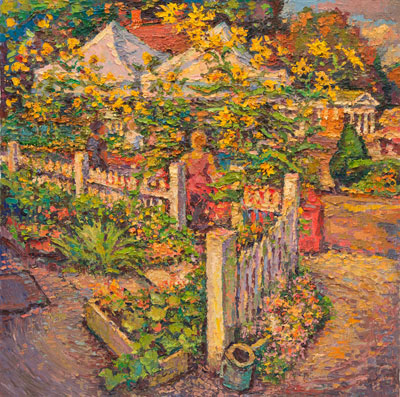 CAT# 3139  Studio Garden with Farmers Market  oil	24 x 24  Leif Nilsson autumn 2011	©