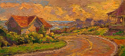 CAT# 3144  Spring Street, Bend in the Road - Block Island  oil	10 x 22 inches Leif Nilsson autumn 2011	©