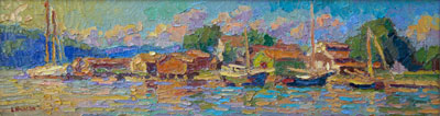 CAT# 3324  Mystic Seaport Museum - Sunny Afternoon  oil	6 x 22  Leif Nilsson summer 2015	©