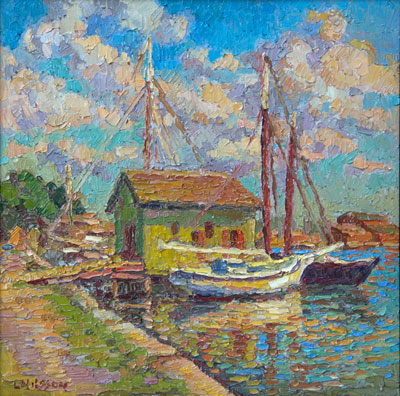 CAT# 3326  Mystic Seaport Museum - Afternoon with the Oyster House  oil	16 x 16  Leif Nilsson summer 2015	©