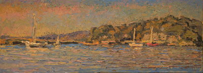 CAT# 3476  Lords Creek from Calves Island at Old Lyme Marina  oil	9 x 24 inches Leif Nilsson Autumn 2017	©